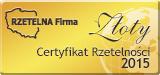 Złoty Certyfikat Rzetelna Firma 2015